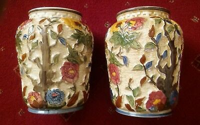 Pair Of Indian Tree Vases By H. J.wood Staffordshire, Handpainted Vibrant Colour