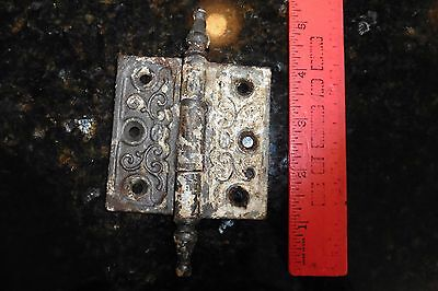Hinge Ornate Cast iron scroll victorian antique patina salvage 3 x 5-1/4""