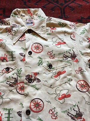 Vintage Cowboy Western Button Down Shirt 40s 50s Rare Cactus Pattern Small