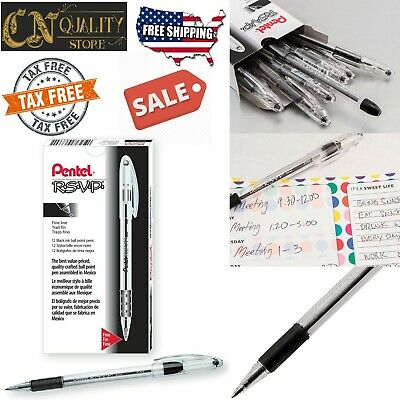 Ballpoint Pen Black Pentel RSVP 7mm 12 Pack Dozen Pens Fine Tip Vivid Ink Color