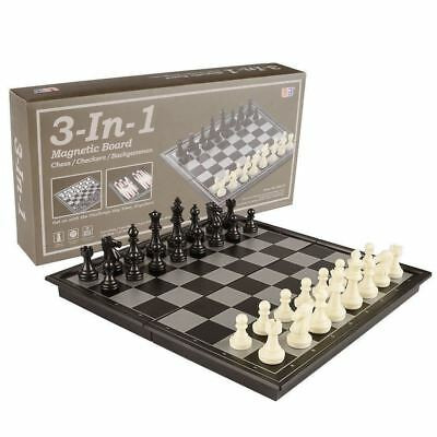 3 in 1 Travel Magnetic Chess, Checkers, Backgammon - 9.8 Inches