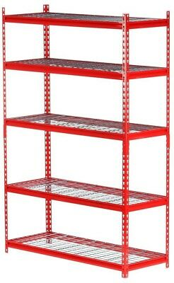 Garage Shelving Unit Red 5-Shelf Steel Versatile Storage 72 H x 48 W x 18 D