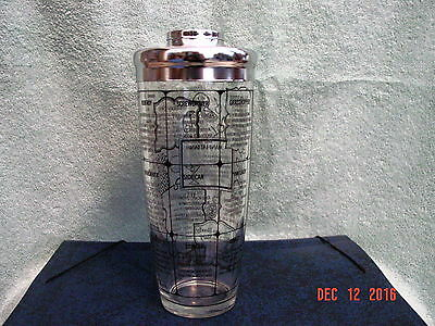 Irwinware Cocktail Shaker With Chrome Lid 15 Drink Recipes Clear Black Graphics