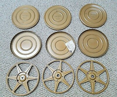 3 Golden Metal Movie Reels with Cases