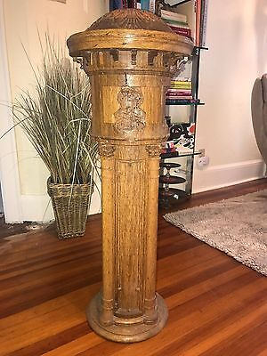Antique Oak Newel Post, Round, Ornate Carvings Architectural Salvage
