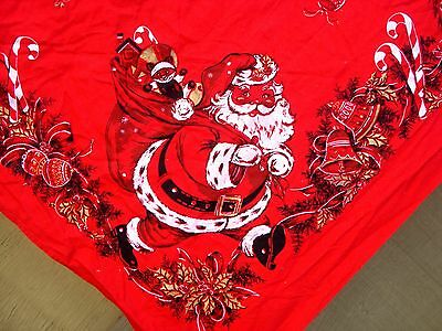 Vintage 40's 50's Christmas Santa Claus Red Tablecloths