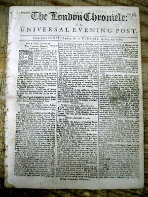 1763 London Chronicle newspaper w letters announcing END of FRENCH & INDIAN WAR