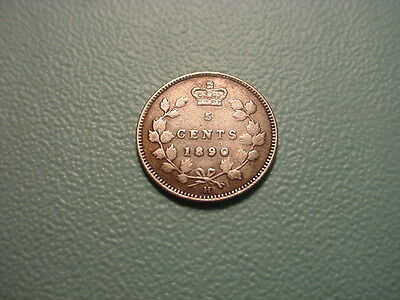 Canada - Silver - 1890-H 5-Cents In Nice Condition
