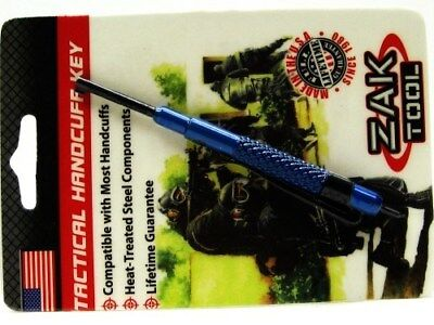 ZAK TOOL Blue ZT-13 Tactical ALUMINUM Handcuff Key w/ Pocket Clip! ZT13-BLU