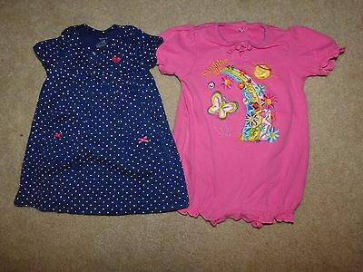 Girl's Lot of 2 Short Sleeve One-Piece Rompers Size 12 Months