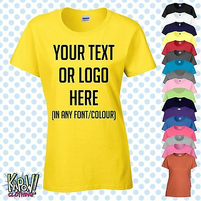 Custom Personalised Womens/Ladies Printed T-SHIRT Hen Party Gift-Your text/logo4