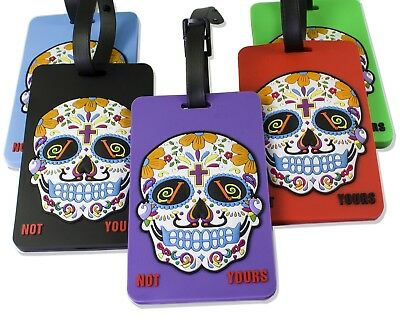 5 Pack OLIVELAND 3D Soft Luggage Tags Sugar Skull Not Yours 5 Colors (5-3d-skull