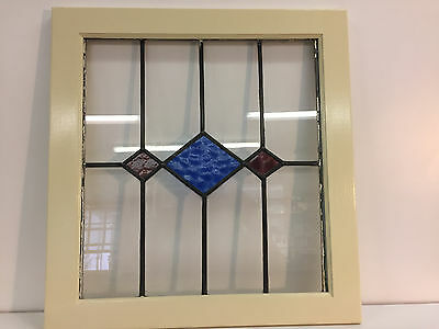 """Antique Arts & Crafts Stained Glass  W/ Blue Diamond In 22.75"""" X 23.75"""" Frame"""