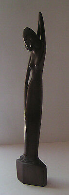 """Vintage Exotic Erotic Balinese Wooden Female Form Sculpture, 16"""" Tall"""