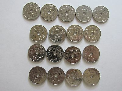 Lot of 17 Different Current Norway Coins - 1997 to 2016 - Circulated