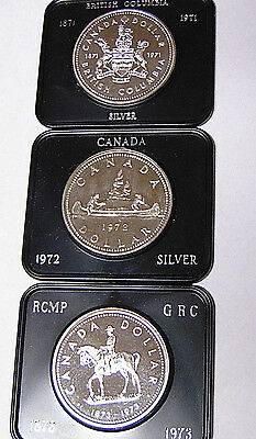 Set of 3 Canada Specimen Silver Dollars: 1971 1972 1973 With Cases