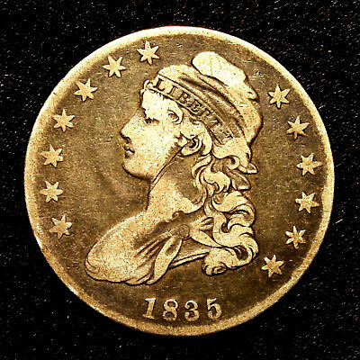 1835 ~**VF VERY FINE**~ Silver Capped Bust Half Dollar Antique US Old Coin! #K36
