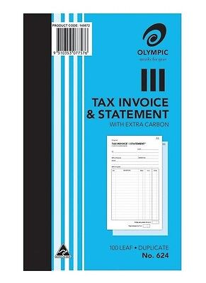 5 x No.624 Olympic Invoice and Statement Carbon Duplicate Books 100 Page Books