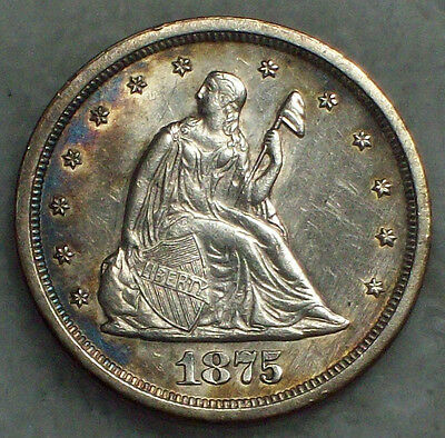 1875 S 20 Twenty Cent SILVER BF-16 S over S $ RARE Misplaced 5 -AU Detailing S/S