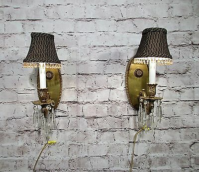 Antique Vintage Pair Brass Sconces Large Ovals Lamp Shades Beaded Rewired