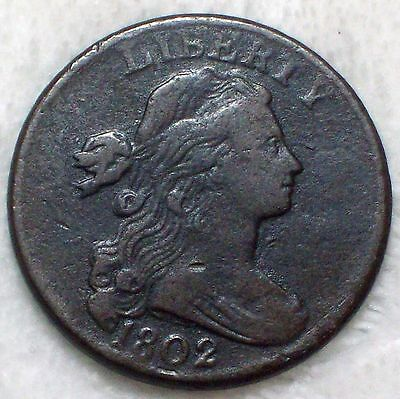 1802 Draped Bust LARGE Cent VF Detailing *RARE* S-233 Variety Authentic Coin 1c