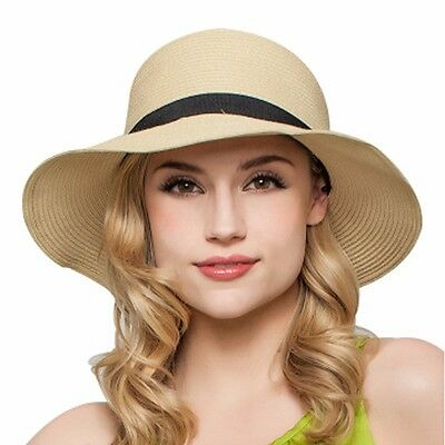 Women Ladies Floppy Sun Beach Straw Hats Wide Brim Packable Summer Cap UPF 50+