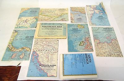 Vintage Lot of 10 1958 - 1972 National Geographic Regional World Grosvenor Maps