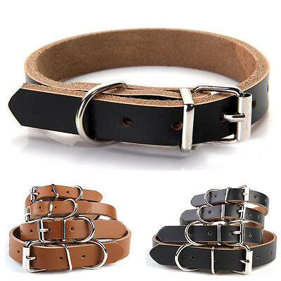 Genuine Cow Leather Dog Pet  Puppy Cat Collar Neck Buckle Neck Strap Adjustable