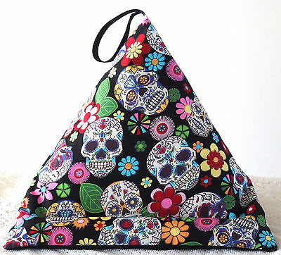 BLACK SKULLS & FLOWERS iPad Tablet book Resting Pillow Cushion bean bag beanbag