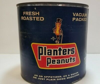 Vintage Planters Salted Peanuts 3Lb Can, With Paper Label,no Lid,