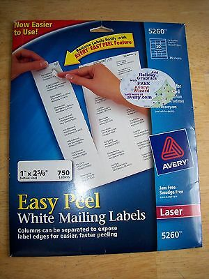 AVERY White Mailing Laser Labels #5260 (750 Labels) - New