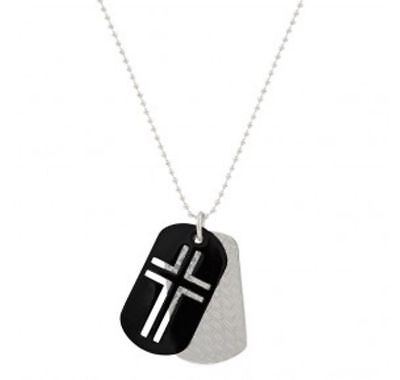 Montana Silversmith NC2491 Stainless Steel Cross Token Necklace Cross Dog Tags