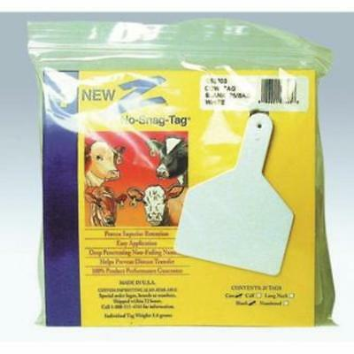 Z Cow Tag Blank White 25 Count Easy Application Prevent Disease Transfer