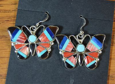 Zuni NA Multi-Stone Mosaic Inlay Butterfly Earrings Angus Ahiyite Turquoise