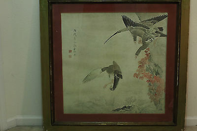 Authentic antique Japanese Geese ink Meiji / taisho period painting 33in X 33in