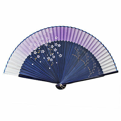 Chinese Ladies Silk & Bamboo Folding Fan Hand Held Fan Cherry Flower Painting
