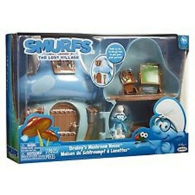 Smurfs The Lost Village Mushroom House Playset with Brainy Smurf  Blue 7 Pieces
