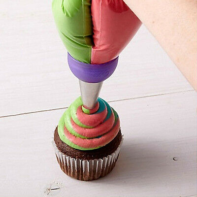 3 Color Cake Decorating Tools Icing Piping Cream Pastry Bag Nozzle Converter