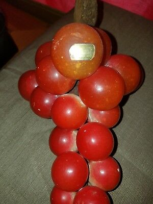 Vintage Retro Mid Century RED Lucite Grapes Cluster On Driftwood mcm decor