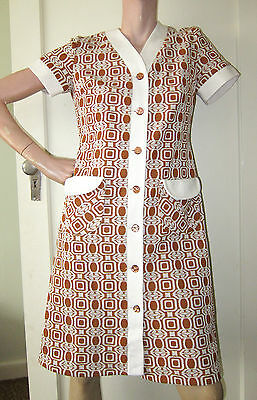 Retro 1970's Dress, Orange/ Brown Abstract Pattern Button Front, Midi, Sz Small