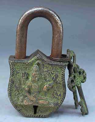China's Tibet Buddhism bronze sculpture white tara big door lock, the key NR