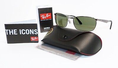 RAY BAN RB 3534 004 Rectangular Gunmetal/Green Men Sunglasses, B8/A