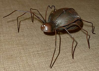Cute~COMPLETELY HANDMADE METAL HALLOWEEN SPIDER FOR SITTING OR HANGING~FOLK ART!