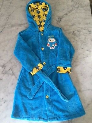 Hoot, Blue winter Robe, with Hoot Owl pattern lining– Size 6