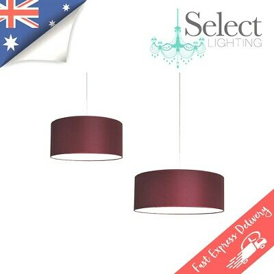 MARCO, Modern Fabric Red / Burgundy Drum Pendant Light, 40cm & 50cm, ON SALE!