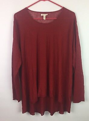 Eileen Fisher Women's Long Sleeve Red Knit Top Casual Size M