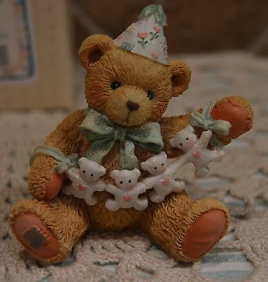 Cherished Teddies~Age 4 Figure~Unfolding Happy Wishes Four You~1992~Euc~Cake Top