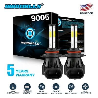 9005 HB3 4-sides LED Headlights Bulb HIGH BEAM Super Bright 6000K 1700W 255000LM