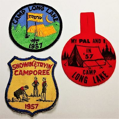 BSA Boy Scouts of America Patches: 1957 Camp Long Lake & Showin' Tryin' Camporee