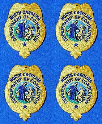 Lot of 4 Embroidered Patches North Carolina NC Department of Correction Police